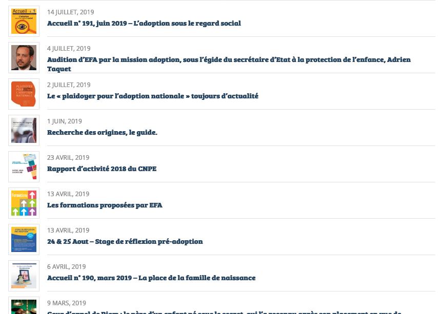 Aperçu des actualités d'EFA FRANCE